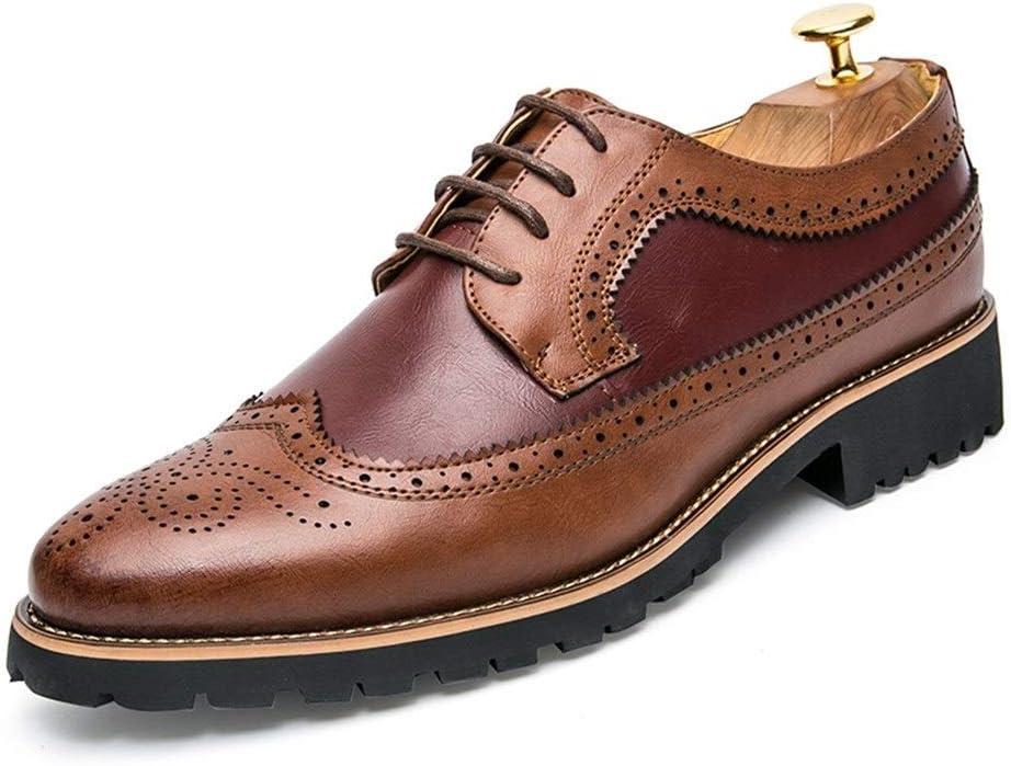 Zapatos de vestir de los hombres Zapatos Oxford de hombre for zapatos brogue con cordones de cuero de microfibra zapatos de empalme grabados clásicos ocasionales retro Zapatos oxford duraderos
