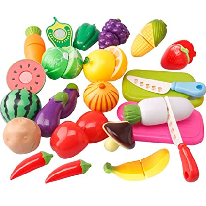 20PCS Fake Kitchen Fruit Vegetables Food Toy Cutting Set Kids Pretend Role  Play Gifts Toy For