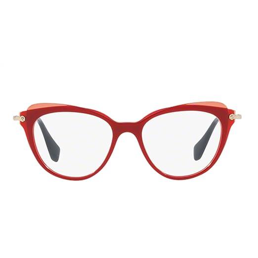 464171eaa74350 Amazon.com  Miu Miu MU01QV Eyeglasses 50-17-140 Red w Demo Clear ...