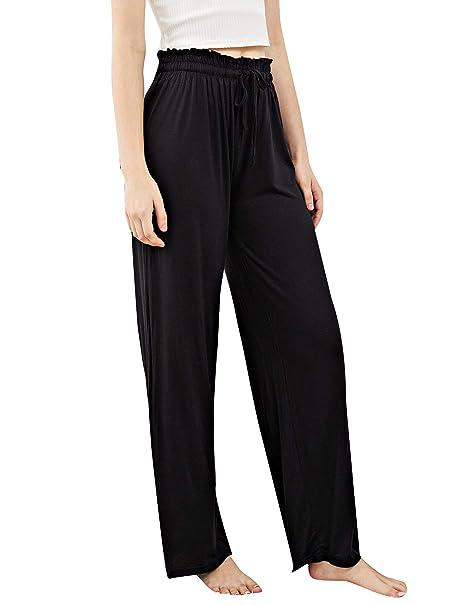 865bd35c3 SheIn Women's Drawstring Pajama Pants Wide Leg Lounge Pants Black one-Size