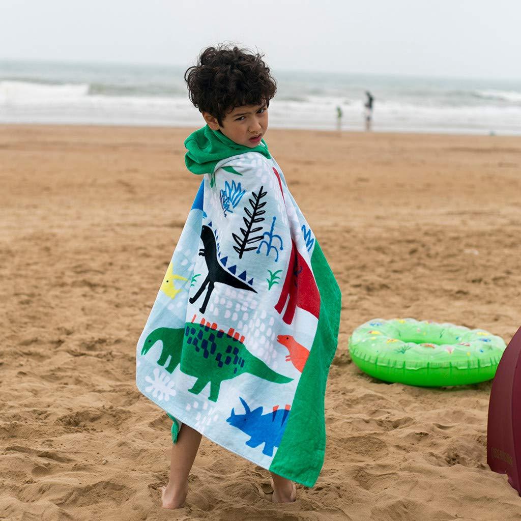 Rolayllove Soft Cloak Kids Childrens Cartoon Hooded Swimming Beach Bath Towel Thicken Soft Cloak