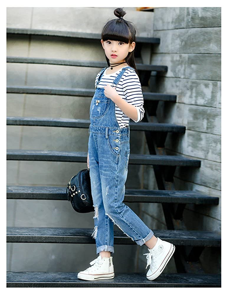 Sitmptol Girls Big Kid Distressed Bib Overalls Blue BF Style Cuffed Denim Long Jeans 1P