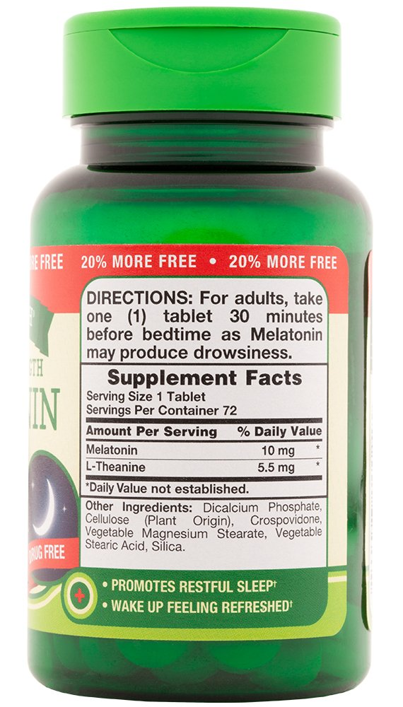 Amazon.com: Natures Truth Maximum Strength Melatonin 10 mg Plus L-Theanine Capsules, 72 Count: Health & Personal Care