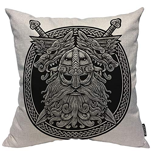 Mugod Norse God Odin with Wolf and Swords Decorative Pillow Case Celtic Viking Warrior Black Ring Throw Pillow Cover Home Decor Cotton Linen Square Cushion Cover for Couch Bed Sofa 18X18 Inch