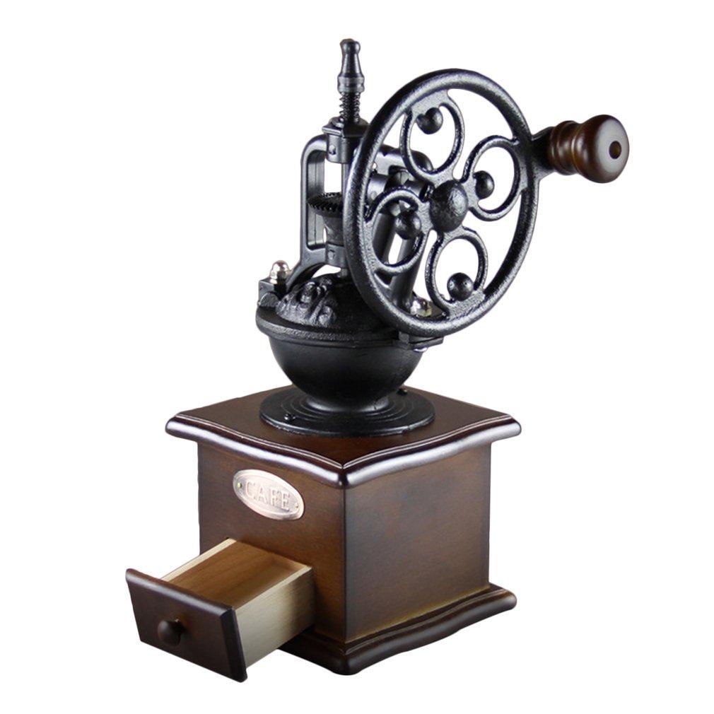 Hemore Vintage Manuelle Kaffeem/ühle Rad Design Kaffee Bohnen M/ühle Mahlmaschine Home Zubeh/ör
