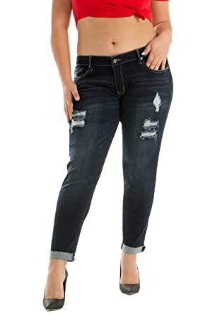 773641dd68 KanCan Plus Size Jeans Weston-Salle Regular Rise Distressed Cuffed Ankle Skinny  Jeans KC6050R (