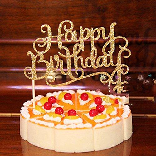 Bluelans Happy Birthday Cake Topper First Birthday Cupcake Topper Cake Smash Candle (Gold)  candles 9cm | Diameter 9cm high 18 Langkou shape 18 key remote control candle light 61iTif5du0L