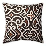 Pillow Perfect Decorative Damask Square Toss Pillow, Brown/Beige