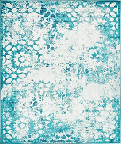 A2Z Rug Modern Persian Vintage Design Turquoise Rug 8' x 10' FT Sofia Area Rugs and Carpets Inspired Overdyed Fancy