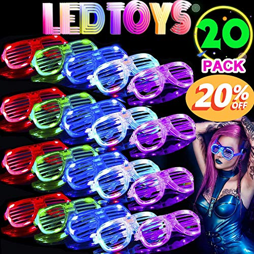 Halloween Party Adults (TURNMEON 20 Pack LED Glasses,5 Color Light Up Glasses Shutter Shades Glow Glasses Led Party Sunglasses Adults Kids Halloween Glow in The Dark Rave Party Supplies Favors Birthday Classroom Glow)