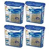 LOCK&LOCK Plastic Cereal Dispenser Dry Food Storage Keeper 3.9L(16.48 cup), Pack Of 4