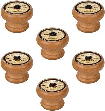 6 Un. Pomo TIRADOR Mueble Vintage Retro madera tinte miel ...
