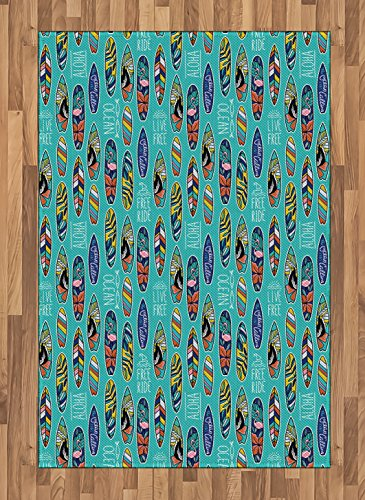 Ambesonne Surfboard Area Rug, Aloha Hawaii Live Free Ocean Water Sports Inspired Pattern Coastal Inspirations, Flat Woven Accent Rug for Living Room Bedroom Dining Room, 4 X 5.7 FT, Multicolor