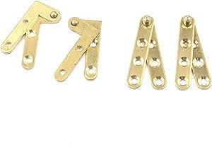 Tulead Pivot Hinge Door Pivot Hinges Cabinet Rotating Hinge Door Fitting Brass Pivot Drawer Hinges (Including 2pcs L-Shaped and 2pcs Straight Hinges)