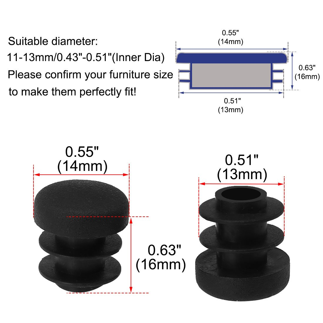 uxcell 1//2 14mm OD Plastic Round Tube Ribbed Inserts End Cover Caps 18pcs Floor Furniture Chair Table Protector 0.43-0.51 Inner Dia