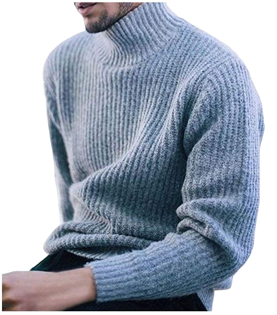 WSPLYSPJY Mens Stylish Solid Knitwear Knitting Turtleneck Slim Fit Pullover Sweaters