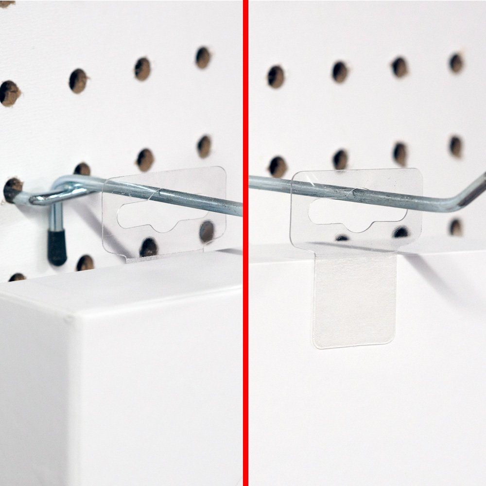 Hanging Display Tabs with Large Adhesive, Slot Hole Peel and Stick Plastic Hang Tabs for Retail, 500 Pieces