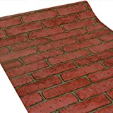 ZeroStage 11 Yards Red Brick Wallpaper Peel and Stick Removable Temporary Roll Chimney Kitchen Faux Fireplace Wall