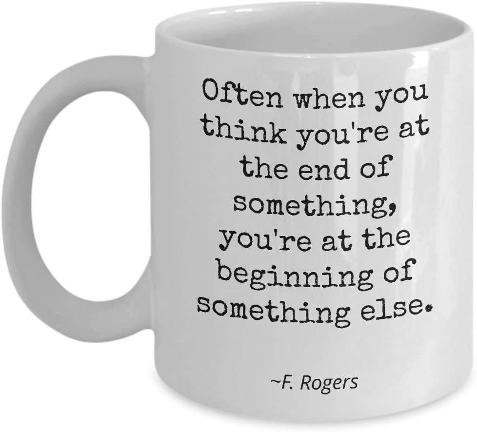 Amazon Com Mr Rogers Neighborhood Fred Rogers Mug Often When You Think Quote Birthday Gift For Son Daughter Mister Rogers 11oz Kitchen Dining