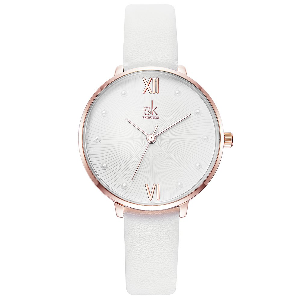Women Leather Band Quartz Watch Simple Style Student Girl Waterproof Watches (8034 White)