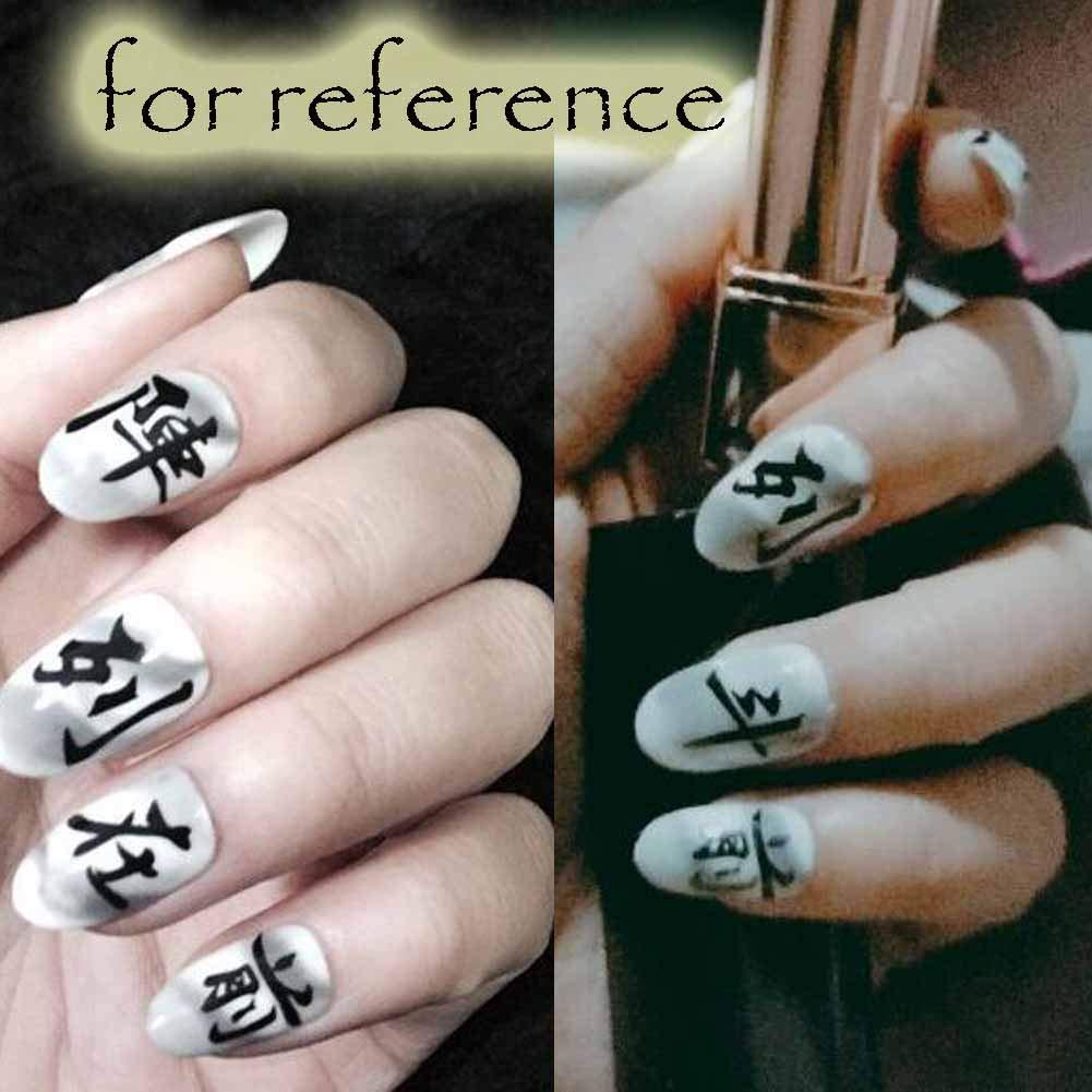 Carácter chino gris/blanco uñas falsas uñas artificiales decoración uñas consejos: Amazon.es: Belleza