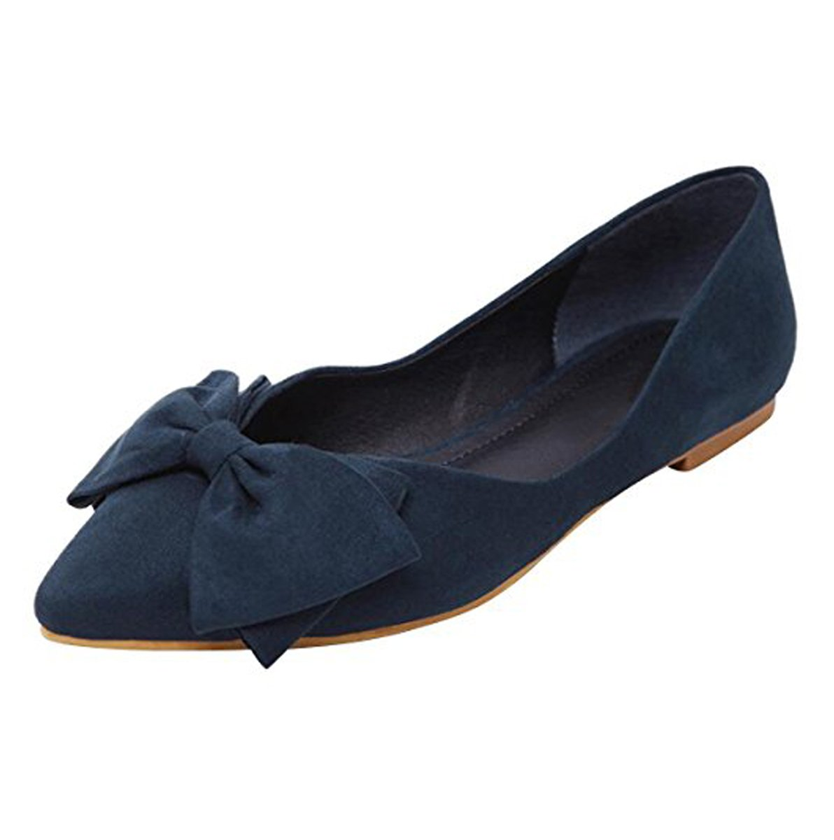 Stunner Women's Cute Bowknot Pointy Toe Flats Comfort Slip-On Ballet Shoes Navy Blue 40