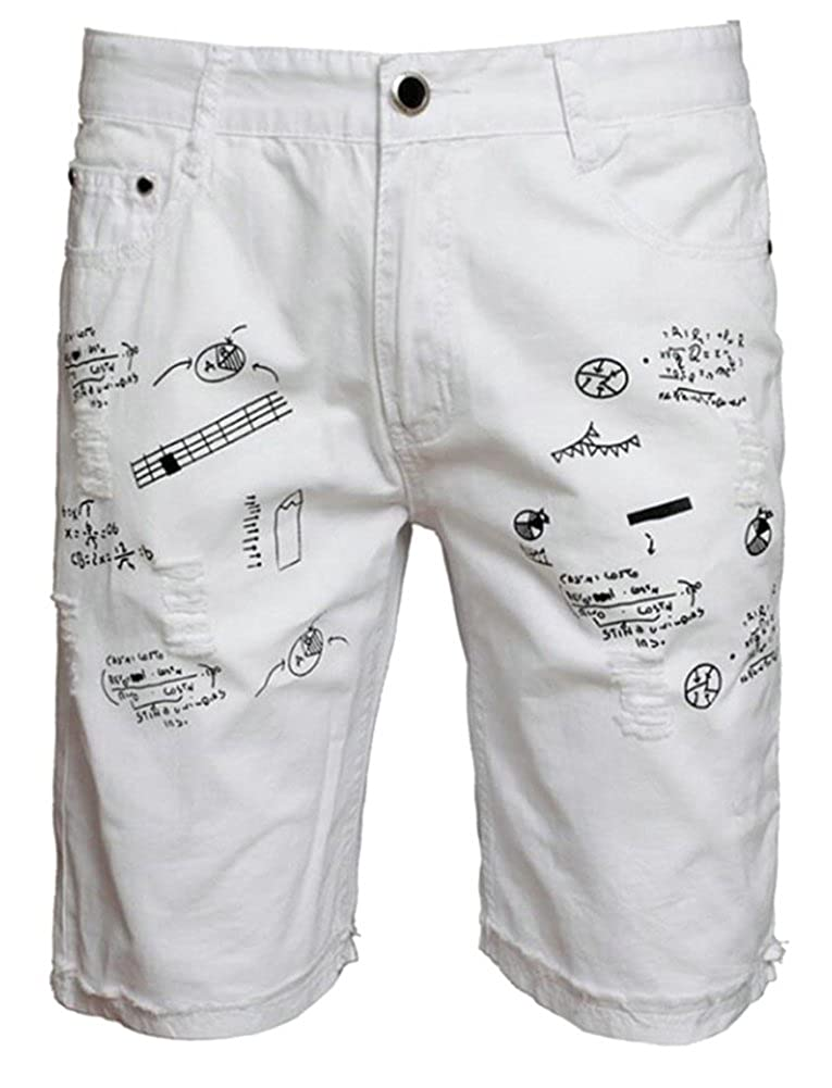 Zantt Mens Stylish Slim Fit Waistband Print Ripped Denim Jean Shorts