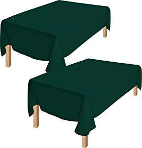 Utopia Kitchen Polyester Tablecloth – 60 x 84 Inches Table Cover - Machine Washable - Great for Parties, Events, Wedding and Restaurants (Pack of 2, Hunter Green)