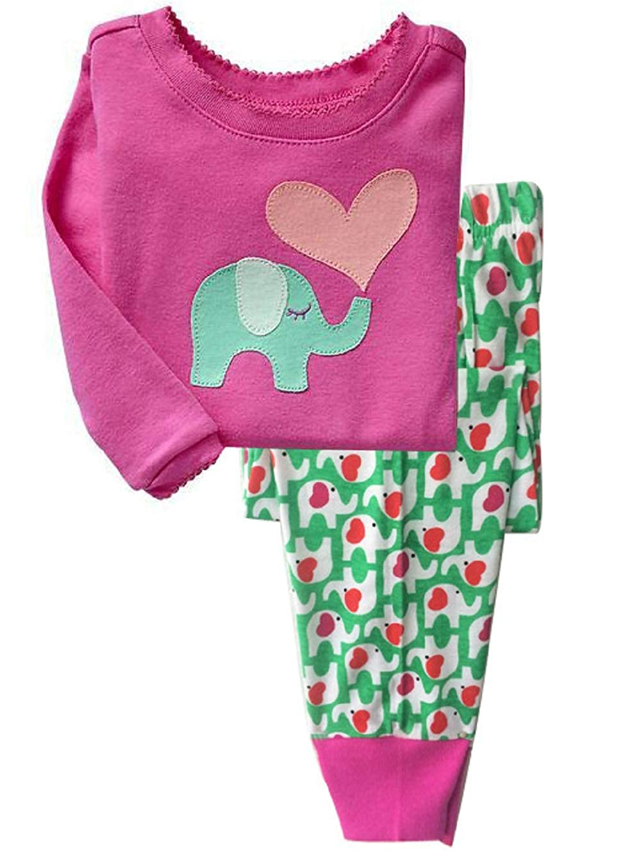 Trousers Comfortable Sleepwear Nightwear Childrens Clothing Girls Cute Elephant Pajamas Set 2T-7T Long-Sleeved