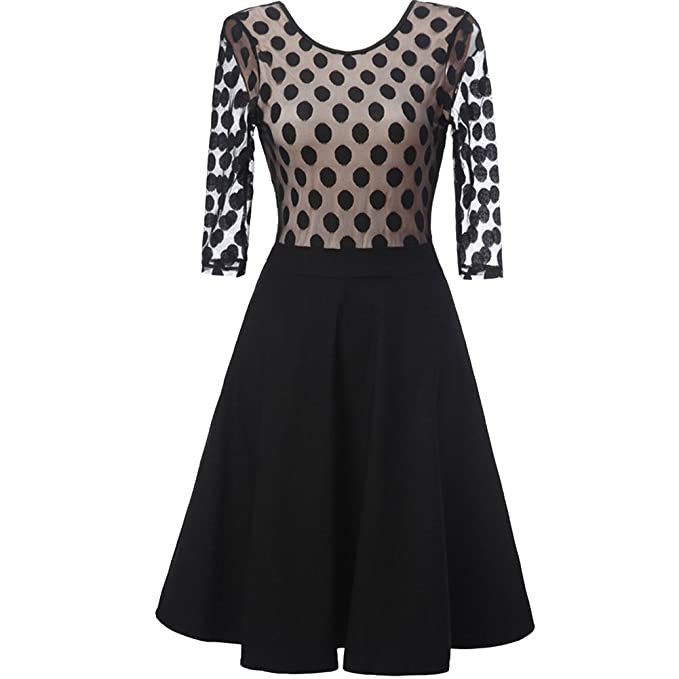 Vestidos de Coctel - 50s Rockabilly Polka Dots Dots Vestido Petticoat Pleated Negro S