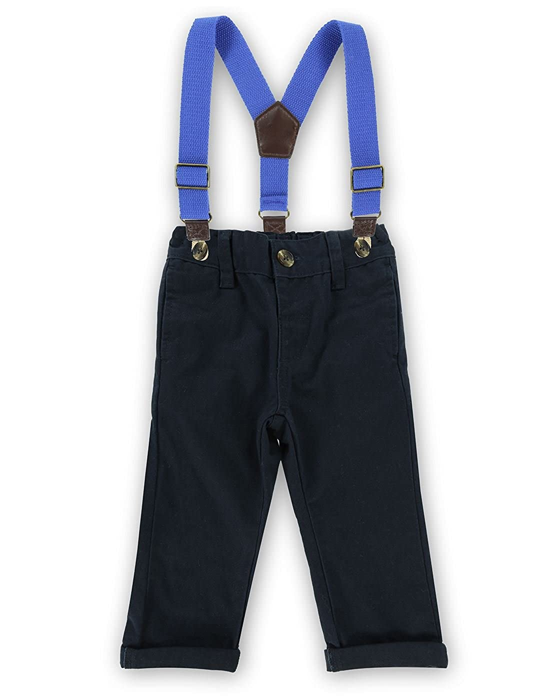 The Essential One Baby Kids Boys Smart Trousers With Detachable Braces - Navy Blue - EOT728