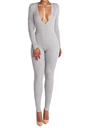 b9dfca41892 Amazon.com  Sexy Knitted Tight Fit Autumn Winter Jumpsuits Back Zipped Rompers  Women Deep V Neck Slim  Clothing