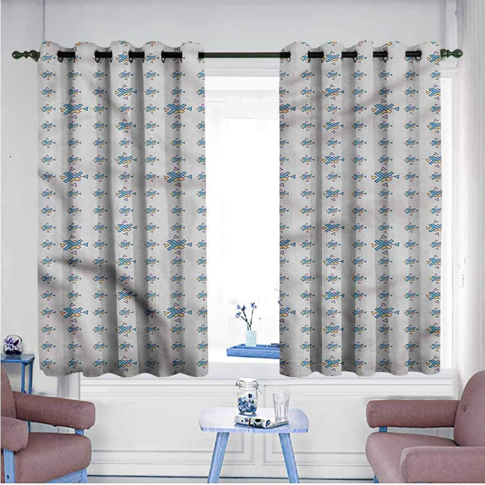 VIVIDX Geometric Curtains Home Curtains Abstract Ornament Great for Living Rooms & Bedrooms,W63x72L