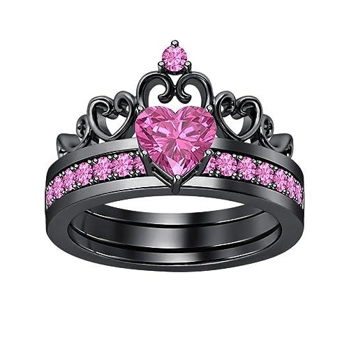 Amazon.com: Lovely forma de corazón zafiro rosa corona de ...