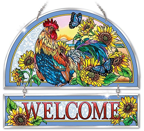 Hand Painted Rooster Design - Amia 41752 Beveled Hand-Painted Glass Welcome Panel, 11 by 12-Inch, Rooster Design