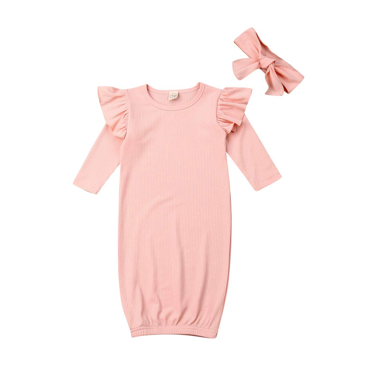 Infant Baby Girls Gowns Love at First Sight Print Sleepwear Nightgowns Mitten Cuffs Sleeper Gowns with Headband