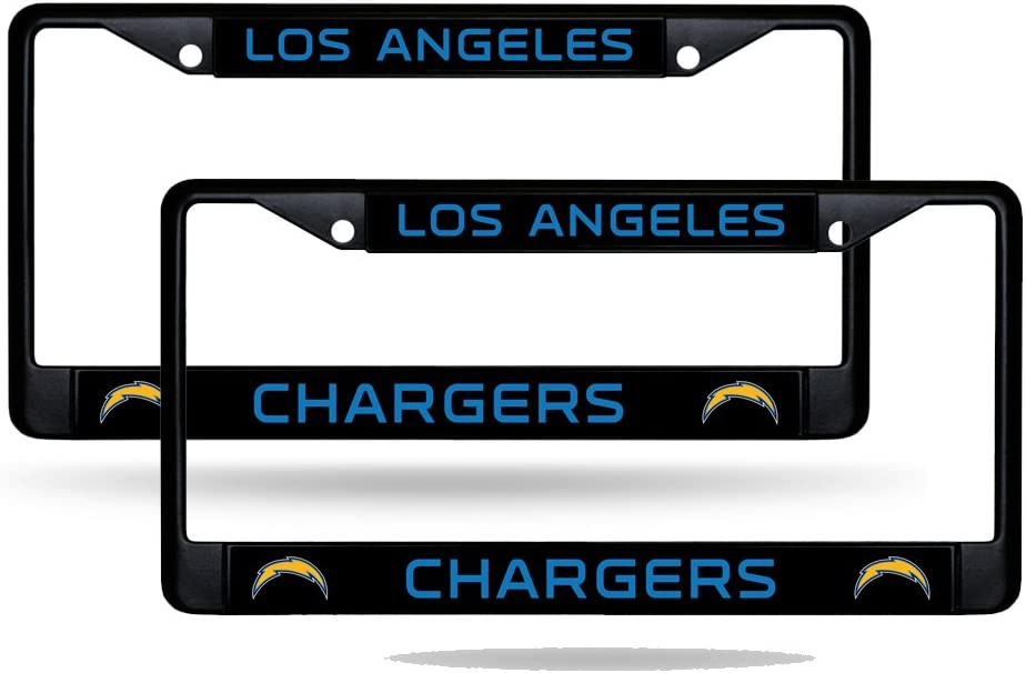 2 License Plate Frame Set Rico Los Angeles Chargers NFL Black Metal