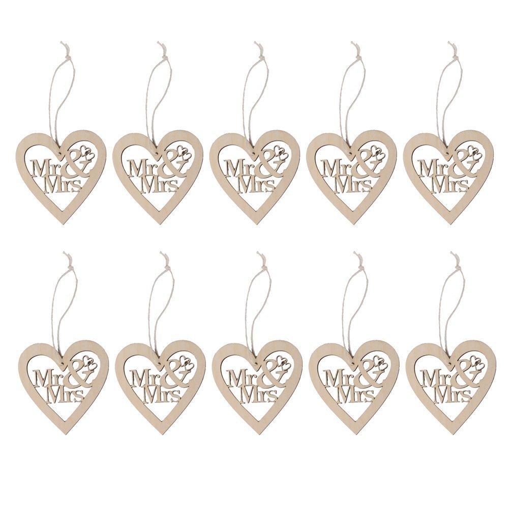 Romote 10pcs Mr & Mrs cuori di legno con le stringhe per Artigianato Marriage D & UML; & Brvbar; corno