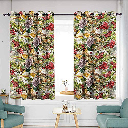 AndyTours Blackout Curtains Panels,Rowan Mixed Pattern of Rural Wild Flowers Leaves and Berries Rustic Artistic Composition,Insulated with Grommet Curtains for Bedroom,W55x63L,Multicolor ()