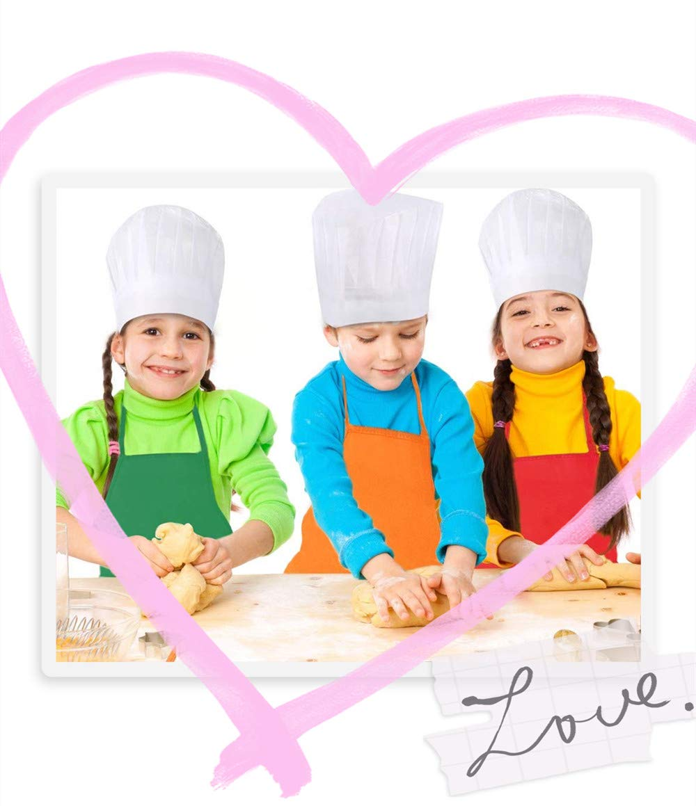 Kitchen Crafts and Art Painting Activity-Safe Clean E-VIVO 48 Pieces Childrens Artists Fabric Aprons and White Kids Chef Hats for 2-7 Years Kid Community Event Classroom