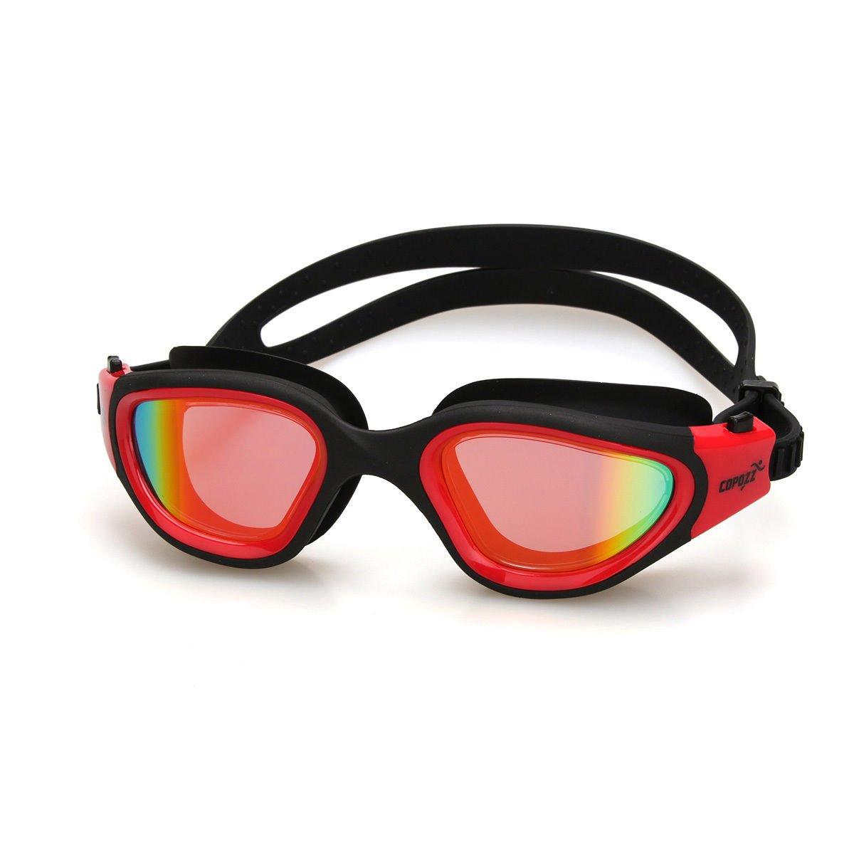 レッド水泳ゴーグルnon-fog Anit UV Wateproof Swim Goggleミラーメガネ