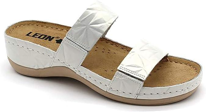 LEON 918 Sandales Sabots Mules Chaussons Chaussures en Cuir Femme