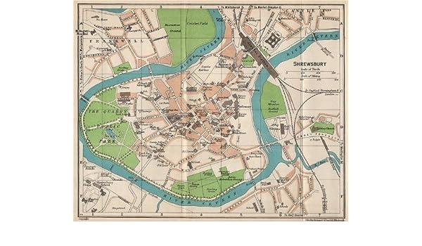 Amazon.com: SHREWSBURY. Vintage town city map plan ...