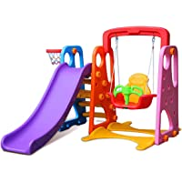 Colorful 3 in 1 Slide and Swing Play Set Kids Outdoor Indoor Play Toy
