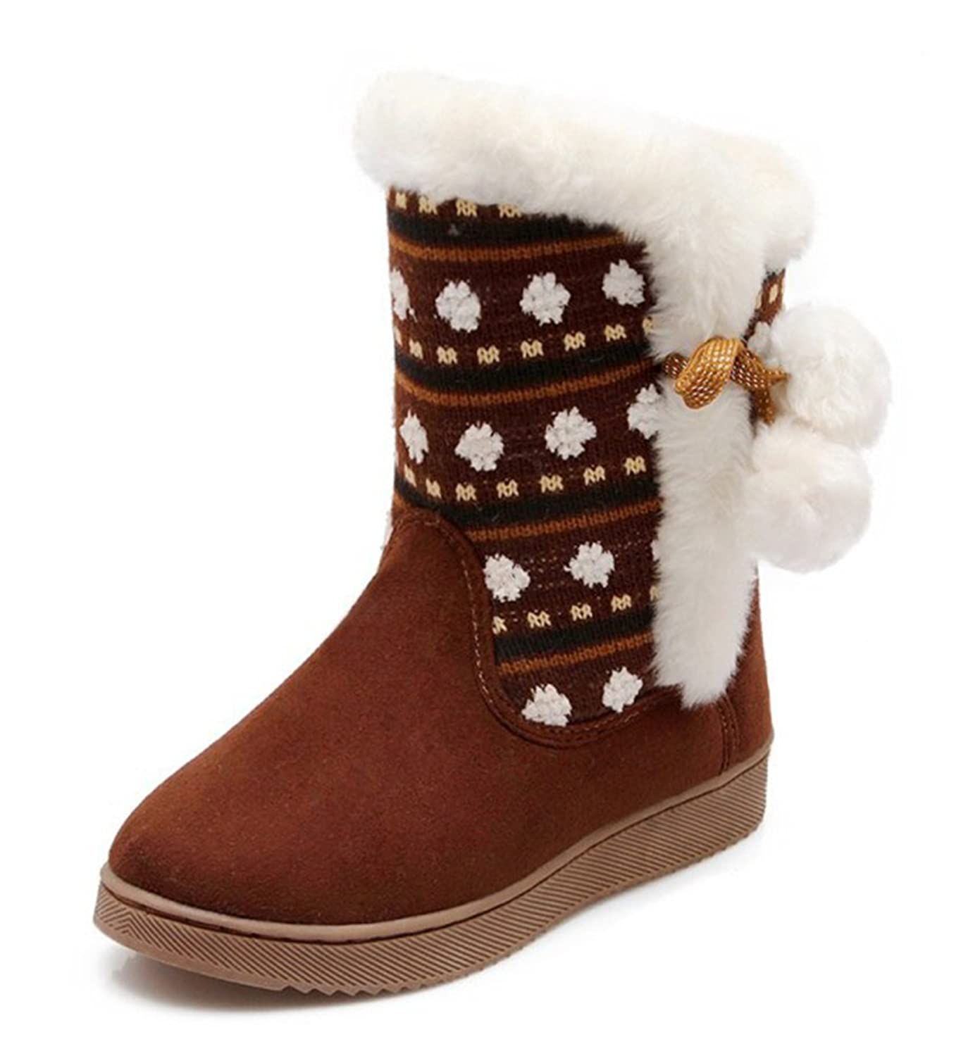 Aisun Women's Warm Cute Round Toe High Tops Lace Up Flats Ankle Snow Boots Shoes