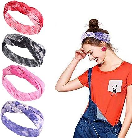 Headbands For Women 10//6//4 Pack Vintage Headband Elastic Printed Head Wrap Hairband Twisted with Knot Boho Headband Accessories