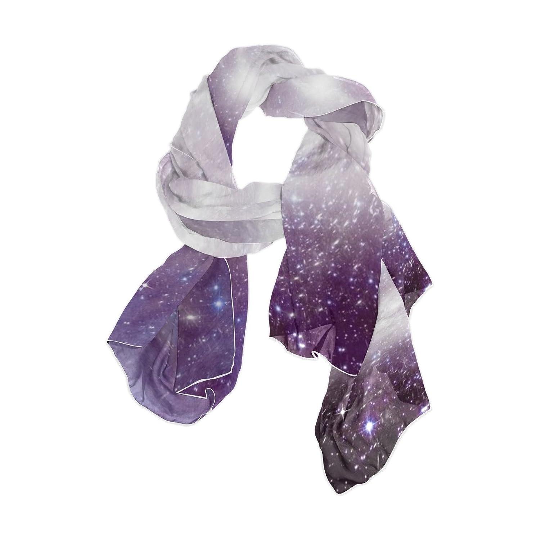 JSTEL Women Elegant Fashion Soft Large Silk chiffon Scarf with Star Space Pattern E102