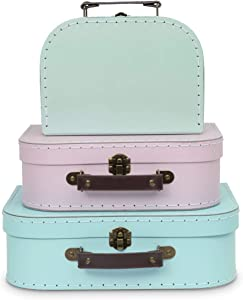 Jewelkeeper Paperboard Suitcases, Set of 3 – Nesting Storage Gift Boxes for Birthday Wedding Nursery Easter Office Decoration Displays Toys Photos – Retro Pastel Design