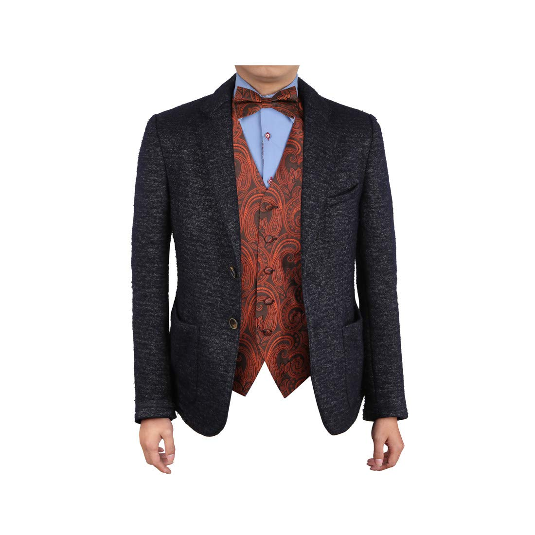 Epoint EGE1B07C-3XL Red Black Patterns Microfiber Vest and Pre-tied Bow Tie Gift Idea For Waistcoat