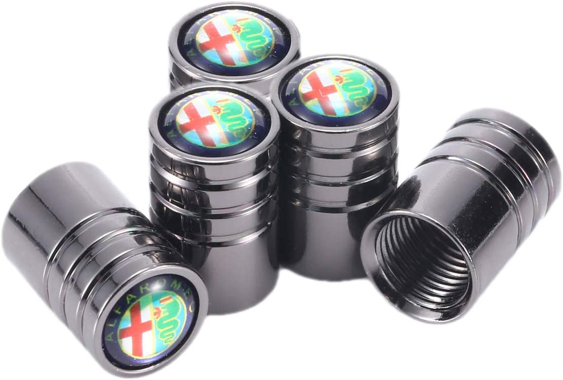 TK-KLZ 5Pcs Chrome Car Tire Valve Stem Caps for Alfa Romeo Giulia Stelvio Decorative Accessory